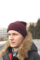 Мужская Шапка зимняяфлисовая бордовая