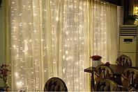 """Штора на медной проволоке """"Капля росы"""" 3х2м, цвет, белый холодный - декоративная гирлянда на Новый год"""
