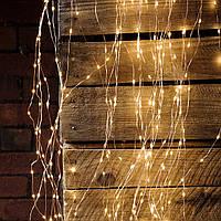 "Штора на медной проволоке ""Капля росы"" 3х3м, 600 led цвет тепло-белый  гирлянда на Новый год"
