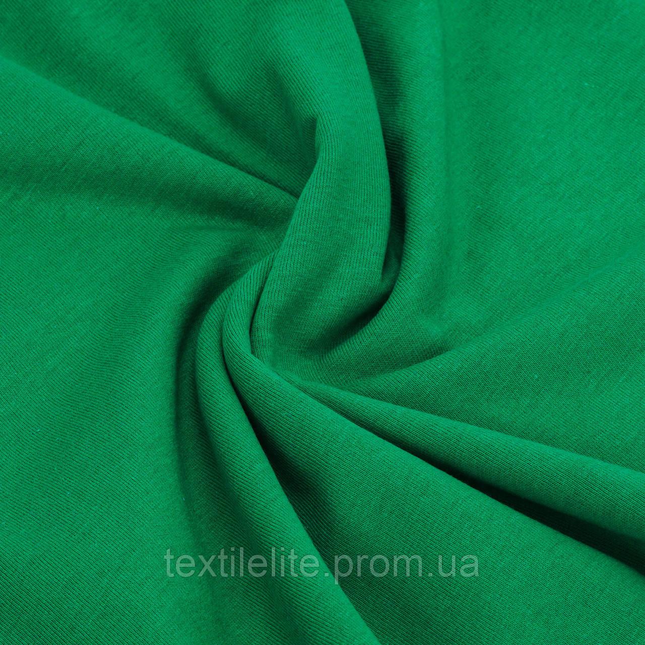 Трикотажное полотно кулирная гладь Зеленого цвета. Хлопок 100%