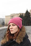 Женская шапка зимняя шерстяная розовая