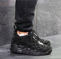Мужские кроссовки Nike Air Uptempo 96, демисезонные, замша, черные, Найк Аир, 2018, фото 1