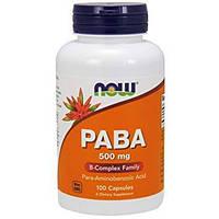 Витамины NOW PABA 500 mg 100 caps, НАУ ПАБА 500 мг 100 капсул