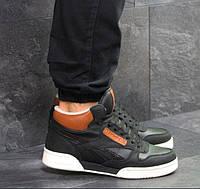 Мужские кроссовки Reebok, зимние, кожа нубук + пресс кожа, черные с белым, Рибок, 2018, фото 1