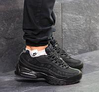 Мужские кроссовки Nike 95, зимние, кожа нубук + пресс кожа, черные, Найк, 2018, фото 1