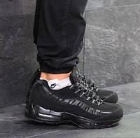 Мужские кроссовки Nike 95, зимние, кожа нубук, черные, Найк, 2018, фото 1