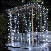 Штора уличная, занавес  3х3м 480 led, прозрачный провод, цвет белый холодный - декоративная гирлянда