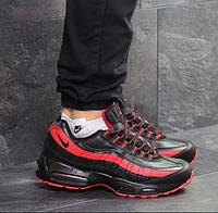 Мужские кроссовки Nike 95, зимние, пресс кожа, черные с красным, Найк, 2018, фото 1
