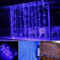 Штора уличная, занавес  3х3м 480 led, прозрачный провод, цвет синий - декоративная гирлянда