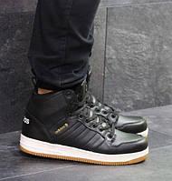 Мужские кроссовки Adidas Cloudfoam, зимние, пресс кожа, черные, Адидас, 2018, фото 1