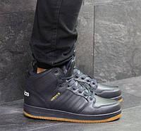 Мужские кроссовки Adidas Cloudfoam, зимние, пресс кожа, темно-синие, Адидас, 2018, фото 1