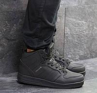 Мужские кроссовки Adidas Cloudfoam, зимние, кожа нубук, черные, Адидас, 2018, фото 1