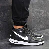 Мужские кроссовки Nike Air Force, зимние, пресс кожа, черные, Найк Аир Форс, 2018, фото 1