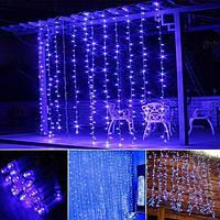 Штора уличная, занавес 2х2м 360 led, прозрачный провод, цвет синий - декоративная гирлянда