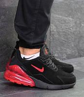 Мужские кроссовки Nike Air Max 270, зимние, замша, черные с красным, Найк, 2018, фото 1