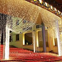 Штора уличная, занавес  2х2м 360 led, прозрачный провод, цвет тепло-белый - декоративная гирлянда