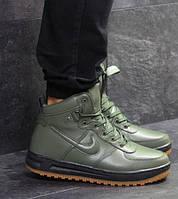 Мужские кроссовки Nike Air Force LF-1, зимние, пресс кожа, темно-зеленые, Найк, 2018, фото 1