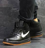 Мужские кроссовки Nike Air Force LF-1, зимние, пресс кожа, черные, Найк, 2018, фото 1
