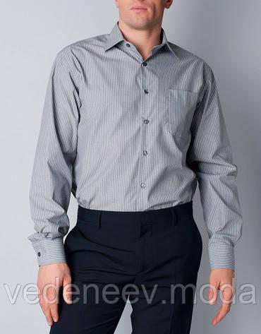Классическая мужская рубашка белая в серую полоску