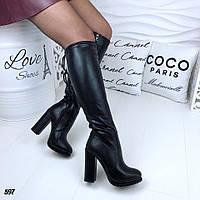 Женские сапоги, зимние, эко-кожа, каблук 11 см, черные, 2018