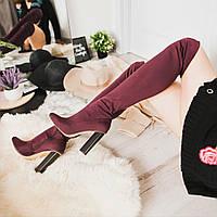 Женские ботфорты, демисезонные, эластан, каблук 11 см, бордовые, 2018, фото 1