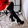 Женские ботфорты, демисезонные, эко-замша, каблук 12,5 см, черные, 2018