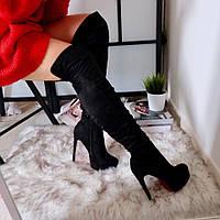Женские ботфорты, демисезонные, эко-замша, каблук 12,5 см, черные, 2018, фото 1