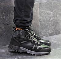 Мужские кроссовки Under Armour, зимние, прес кожа + замша, черные, Андер Армор, 2018 43