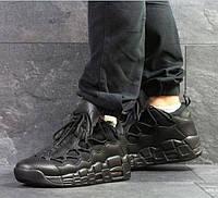 Мужские кроссовки Nike Air Uptempo 96, демисезонные, пресс кожа, черные, Найк Аир, 2018