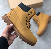 Женские ботинки зимние Timberland, кожа + мех, коричневые, Тимберленд 2018