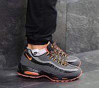 Мужские кроссовки Nike 95, зимние, кожа нубук + пресс кожа, серые, Найк, 2018, фото 1