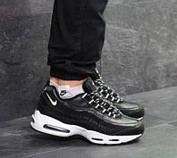 Мужские кроссовки Nike 95, зимние, пресс кожа, черные с белым, Найк, 2018, фото 1