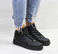 Женские кроссовки Nike Air Force, зимние, черные, пресс кожа, Найк Аир Форс, 2018, фото 1