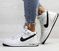 Женские кроссовки Nike Air Force, зимние, белые с черным, пресс кожа, Найк Аир Форс, 2018, фото 1