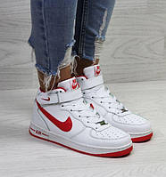 Женские кроссовки Nike Air Force, зимние, белые с красным, пресс кожа, Найк Аир Форс, 2018, фото 1