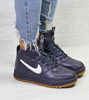 Женские кроссовки Nike Air Force LF-1, зимние, фиолетовые, пресс кожа, Найк, 2018, фото 1