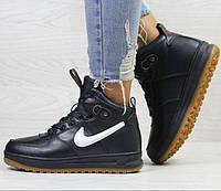 Женские кроссовки Nike Air Force LF-1, зимние, темно-синие, пресс кожа, Найк, 2018, фото 1