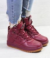 Женские кроссовки Nike Air Force LF-1, зимние, бордовые, пресс кожа, Найк, 2018, фото 1