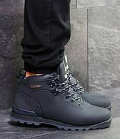 Мужские ботинки зимние Timberland, нубук, внутри мех, темно-синие, Тимберленд 2018 42