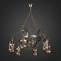 Люстра из металла Викинг на цепи 6 ламп, черный патина бронза, плафон метал. фонарь, D-55см, ФС 032