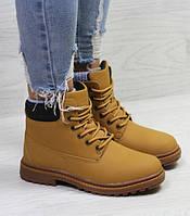 Женские ботинки зимние Timberland, кожа нубук, рыжие, Тимберленд 2018, фото 1