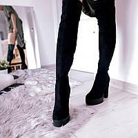 Женские ботфорты, демисезонные, эко-замша, каблук 13 см, черные, 2018, фото 1