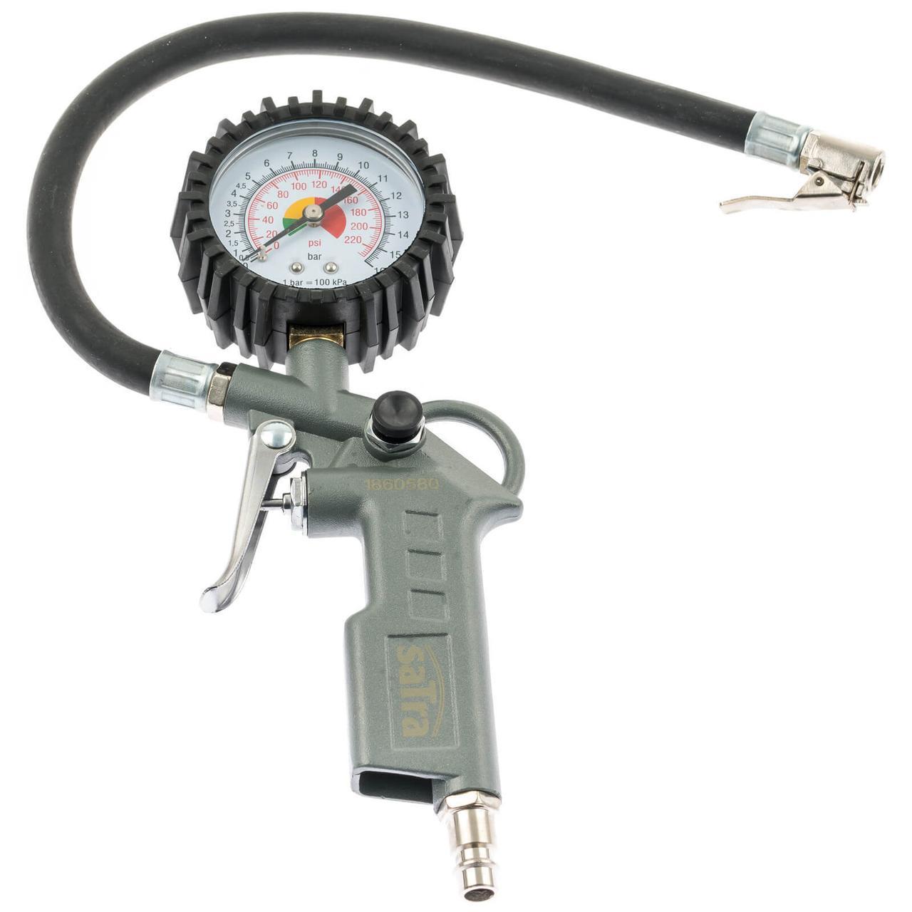 Пистолет подкачки шин с манометром SATRA S-TG3