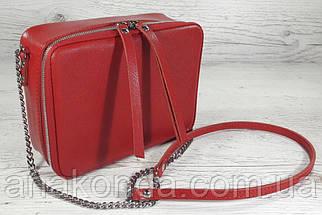 65-3 Натуральная кожа, Сумка женская кросс-боди красная сафьян, фото 2