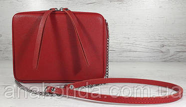 65-3 Натуральная кожа, Сумка женская кросс-боди красная сафьян, фото 3