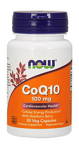 NOW CoQ10 100 mg 30 veg caps, НАУ Коензим 100 мг 30 капсул