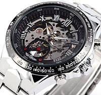 Мужские механические часы Winner Action. Наручные часы скелетоны с автоподзаводом на стальном браслете