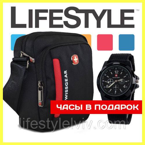 73523d0e280e Мужская сумка через плечо (мессенджер) Swissgear + ПОДАРОК Часы Swiss Army