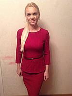 Костюм бордо ( юбка , блуза ) с поясом