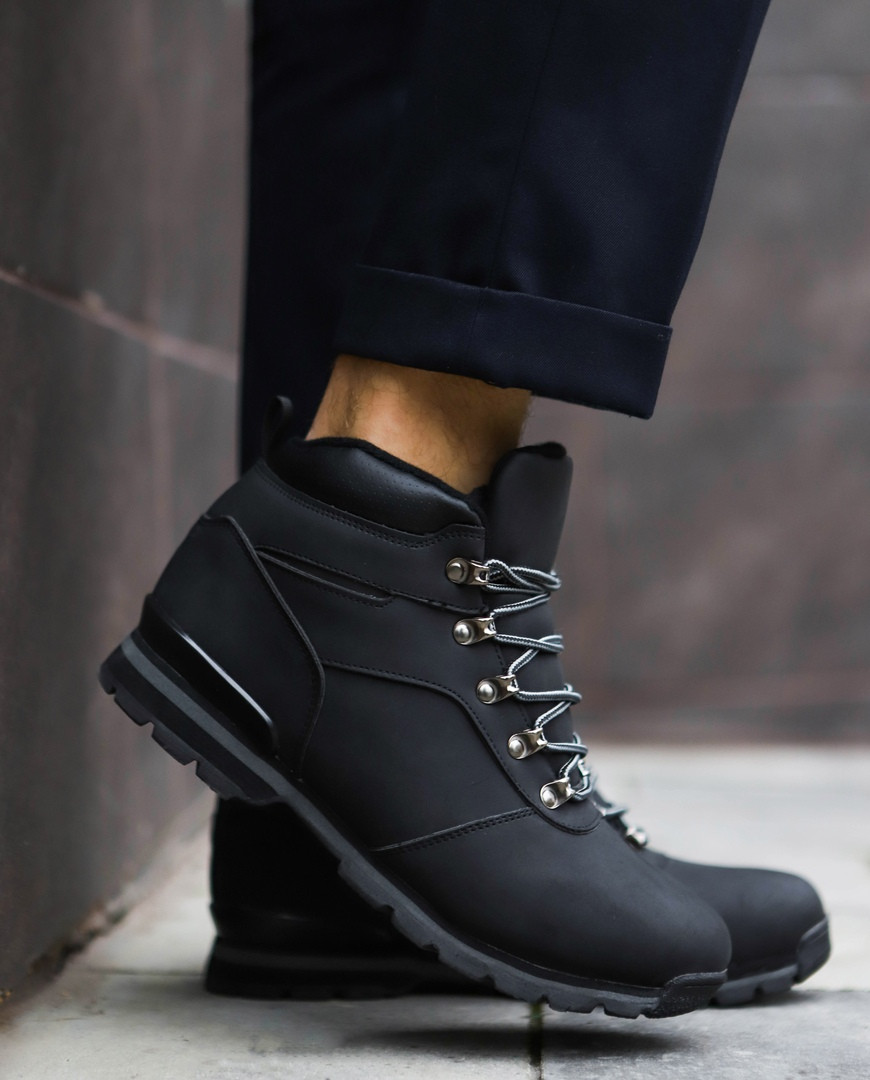 Мужские зимние ботинки в стиле Timberland (black), зимние ботинки черные